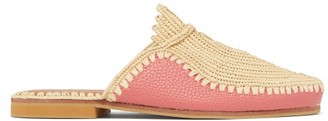 Kilometre Paris - Raffia And Leather Babouche Slippers - Pink