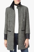 7 For All Mankind Wool Coat With Quilted Cuffs In Black And White Tweed