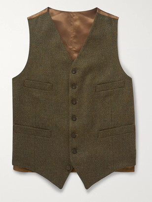 Kingsman Oxford Slim-Fit Prince of Wales Checked Wool Waistcoat - Men - Green