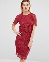 Club L Lace Detail Overlay Midi Scallop Dress