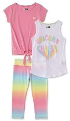 Rbx RBX Girls 4-12 Graphic Tank Top, Tie-Front T-Shirt and Performance Capri leggings, 3-Piece Active Set