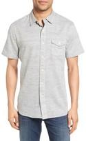 Grayers Men's Trim Fit Heather Herringbone Twill Sport Shirt
