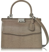 Rodo Taupe Lizard Embossed Leather Top Handle Paris Bag