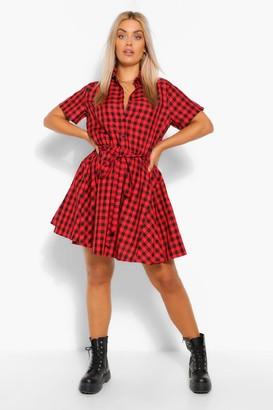 boohoo Plus Gingham Tie Waist Shirt Dress