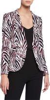 Escada Brikenan One-Button Zebra-Print Jersey Blazer