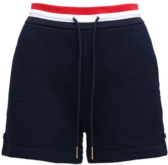 Thom Browne Cotton Sweat Shorts W/ Stripes