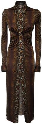 Versace Python Print Viscose Jersey Long Dress