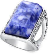 GUESS Silver-Tone Pavé and Blue Stone Ring