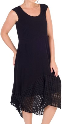 Chesca Jersey Mesh Square Hem Dress, Black