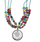 Jules B Three Row Multicolor Pendant Necklace of Length 40-48cm
