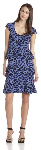 Tracy Reese Women's Peplum Scoop Neck Cap Sleeve Printed Jersey Dress