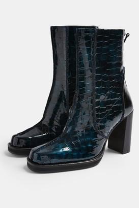 Topshop HALO Blue Leather Platform Boots