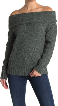 Lush Marled Off-the-Shoulder Tunic Sweater
