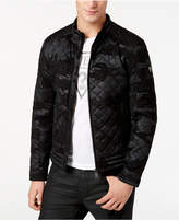 GUESS Men's Quilted Camouflage Faux-Leather Jacket