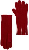Portolano Ashton Red Embellished Cashmere Knit Gloves