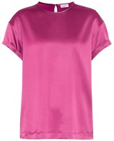 Brunello Cucinelli Stretch silk-satin T-shirt