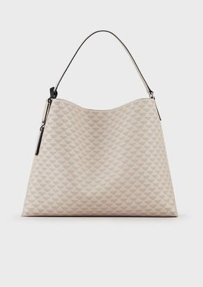 Emporio Armani Shoulder Bag With All-Over Eagle And Pochette