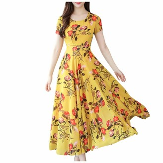 Sonojie Clearance sale Women's Summer Floral Print Dress Short Sleeves Crossed Front Long Dresses for Vacation Beach Yellow
