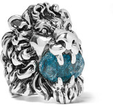 Gucci Lion's Head Silver-Tone Swarovski Crystal Ring