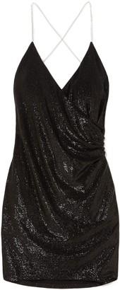 Mason by Michelle Mason Wrap-effect Crystal-embellished Metallic Jersey Mini Dress