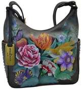 Anuschka Women's Hand Painted Leather Classic Hobo With Studded Sid