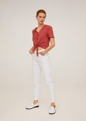MANGO Tie cotton top burnt orange - 2 - Women