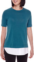 Sag Harbor Short-Sleeve Modern Geo Layered Sweater