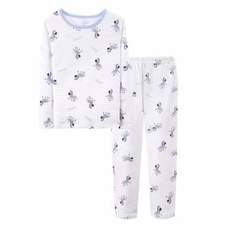 Qiribati Girl's Cute Children Outfit Long Sleeve Shirt Littles Pyjama 2-Piece Kids Zebra Print Sister Family Team Pjs Gift for Kids Blue