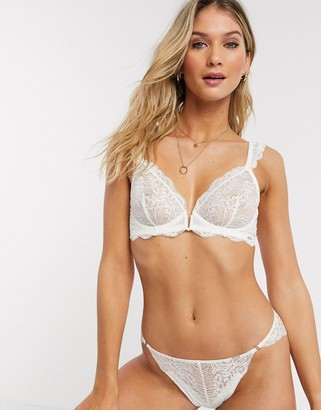 Lindex Ella M Smilla bridal lace brazilian briefs in white