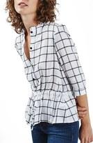Topshop Women's Ruffle Collar Check Peplum Blouse