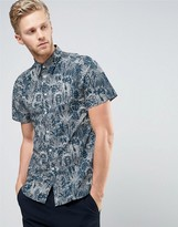 Paul Smith Short Sleeve Shirt Floral Line Print Tailored Regular Fit in Navy
