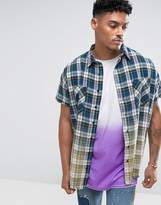 Jaded London Sleeveless Oversized Shirt In Check With Dip Dye