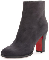 Christian Louboutin Suede Red Sole Ankle Boot, Charcoal Gray