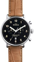Shinola 43mm Canfield Chronograph Watch w/Alligator Strap, Tan/Black