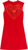 Christopher Kane Guipure Lace-paneled Crepe Mini Dress - Red