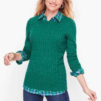 Talbots Button Cuff Cableknit Sweater - Tweed