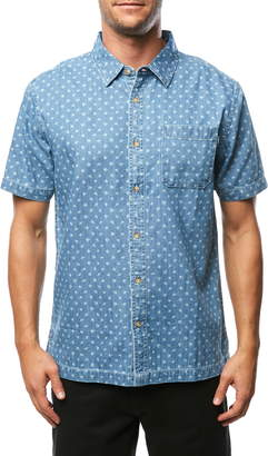 O'Neill Palm Brawl Print Short Sleeve Denim Button Up Sport Shirt