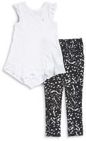 Calvin Klein Girls 2-6x Little Girls Textured Tee and Paint-Splatter Leggings Set