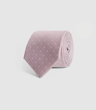Reiss Liam - Silk Polka Dot Tie in Pink