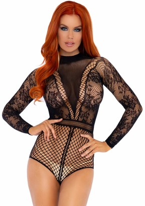 Leg Avenue Women's Lace and Fishnet Bodysuit