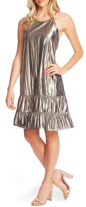 CeCe Halter Neck Gold Lame Shift Dress