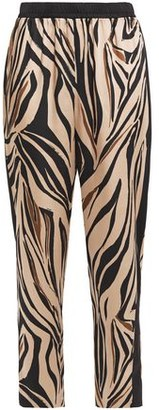 Bailey 44 Kyle Cropped Zebra-print Satin-twill Tapered Pants
