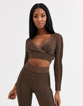 Asos Design DESIGN metallic wrap two-piece cropped sweater