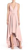 Women's Monique Lhuillier Bridesmaids Deep V-Neck Chiffon High/low Gown