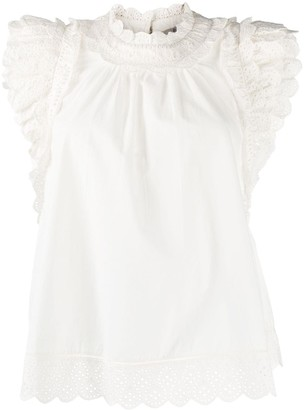 Sea Broderie Anglaise Ruffle Trim Blouse
