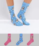 New Look 3 Pack Novelty Pug Ankle Socks