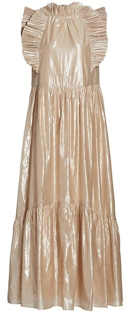 Sea Ruffle Metallic Maxi Dress