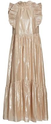 Sea Ruffle Metallic Maxi Dress