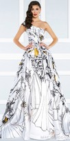 Mac Duggal One Shoulder A-line Sketched Print Ball Gown