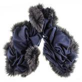 Black Fur Trimmed Navy Cashmere Shawl